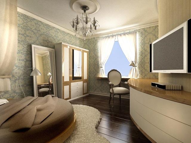 комната девушки, оформленная в пастельных тонах