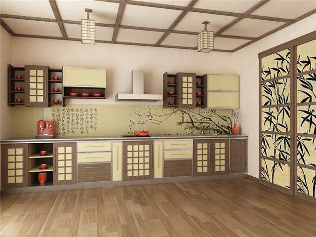 кухня и фотообои в японском