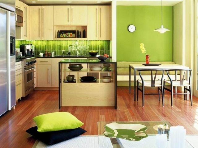 интерьер кухни в зеленых тонах