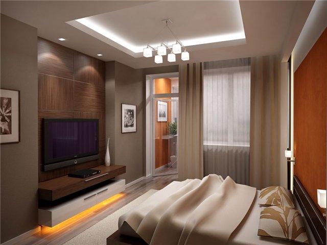 Потолки в интерьере спальни хайтек