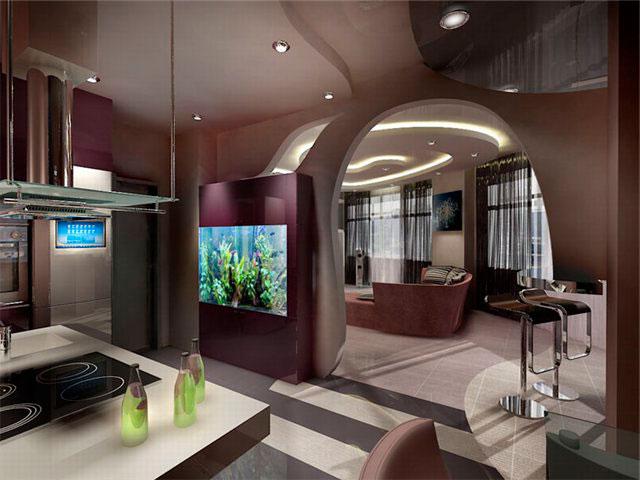Дизайн совмещенной кухни и гостиной, студии