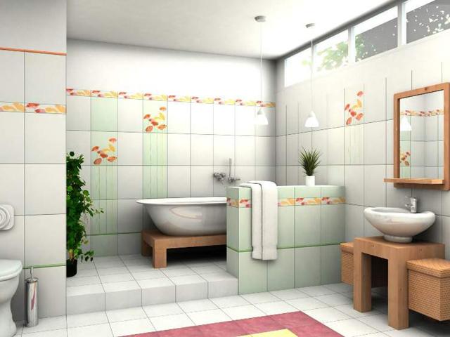 Стены, пол из плитки в санузле