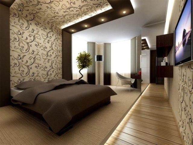 пастельная спальня в холодных и тёплых тонах