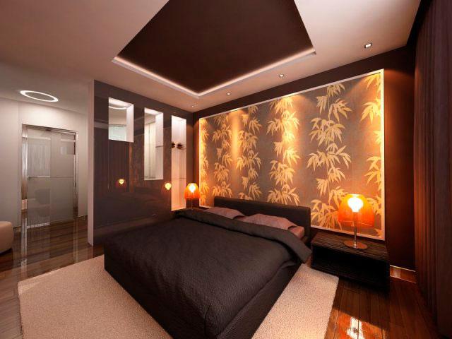 Настольные лампы на тумбочках у кровати