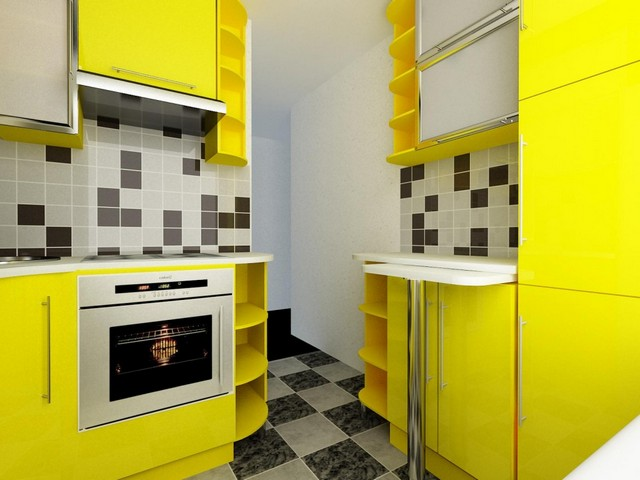 мебель жёлтая глянцевая