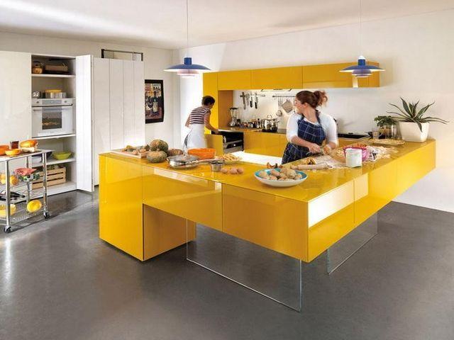 жёлтая рабочая поверхность