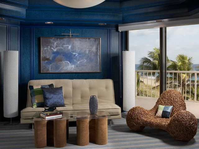 гостиная арт-деко в синих тонах