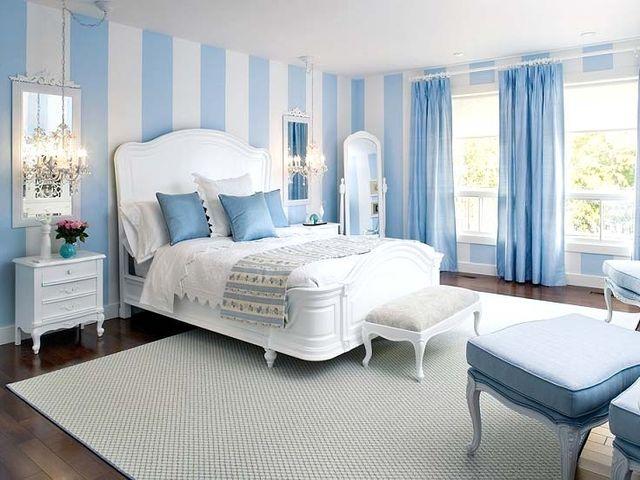 Оформление спальни в голубых тонах