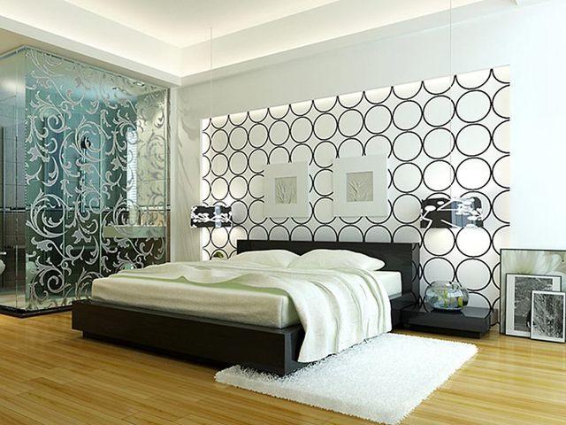 белые обои с геометрическим узором в спальне