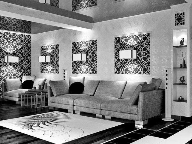 гостиная с черно-белыми обоями