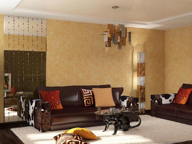 кремовые обои и темно-коричневая мебель – это классика
