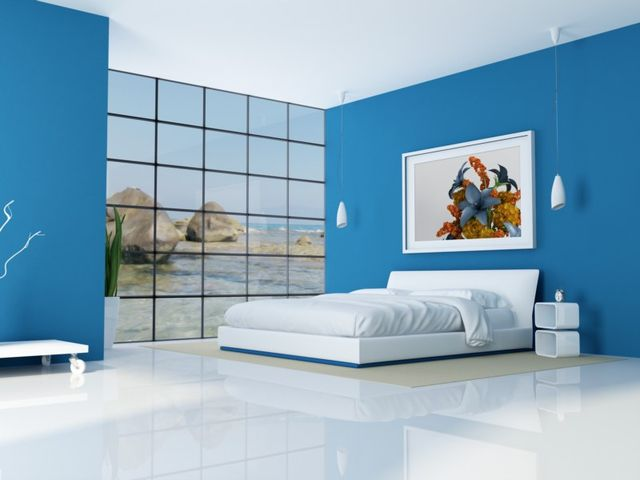 Спальня голубого цвета в стиле хай-тек