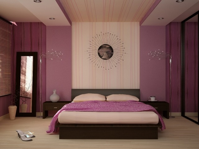 светло-фиолетовые обои в спальне
