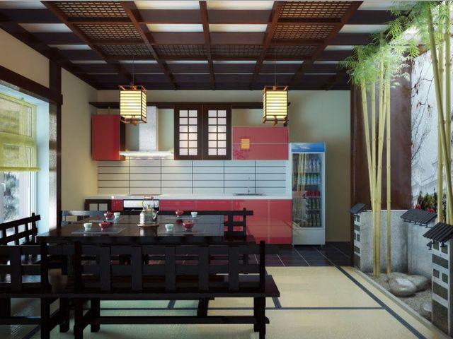 кухня в японском стиле с использованием красного, белого, черного