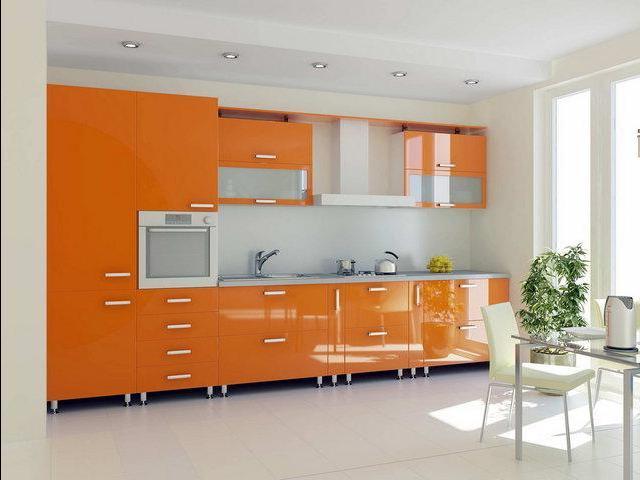 кухня в оранжево-белых тонах – прекрасное решение