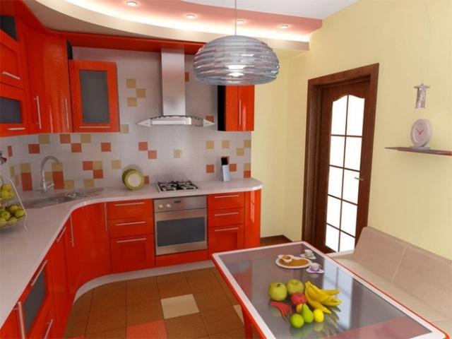 кухонный гарнитур оранжевого цвета