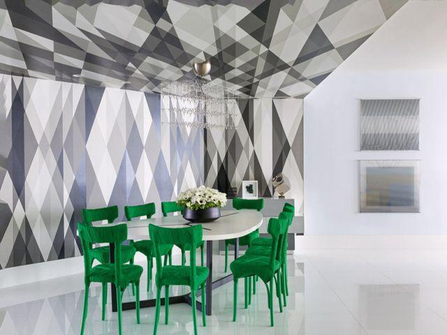 геометрические обои на потолке