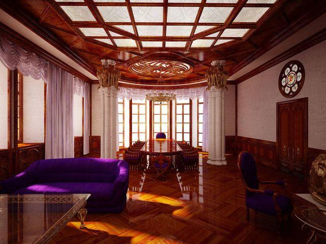 Готический интерьер комнаты с включением пурпурного цвета