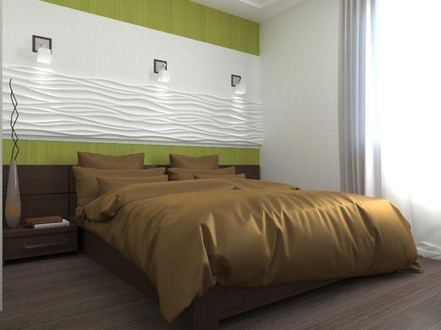 фисташковая спальня в стиле минимализма