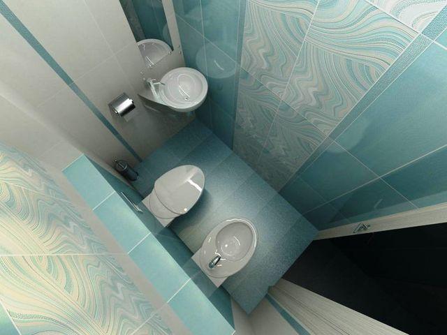 туалетная комната в нежно голубых тонах
