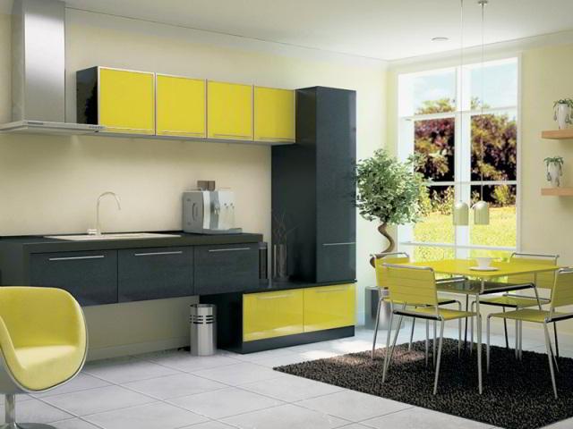 серый и желтый цвет гармонично вписываются в интерьер кухни