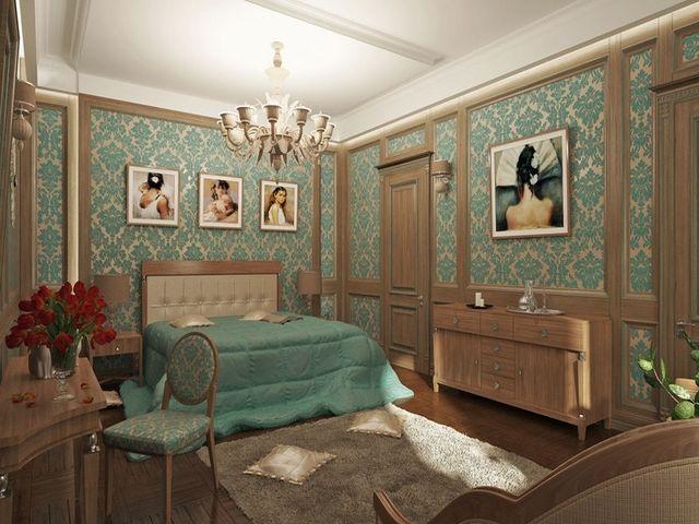 сочетание бежевого и бирюзового в спальне
