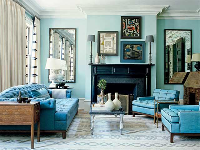 нежная гостиная в голубых тонах