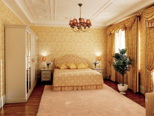 бежевые обои в романтичной спальне