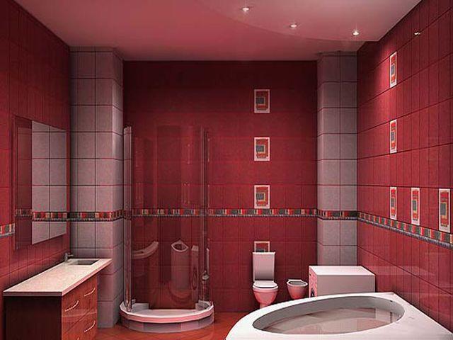 экзотическая бордовая ванная комната