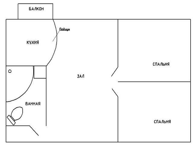Схема перепланировки двухкомнатной квартиры в трехкомнатную