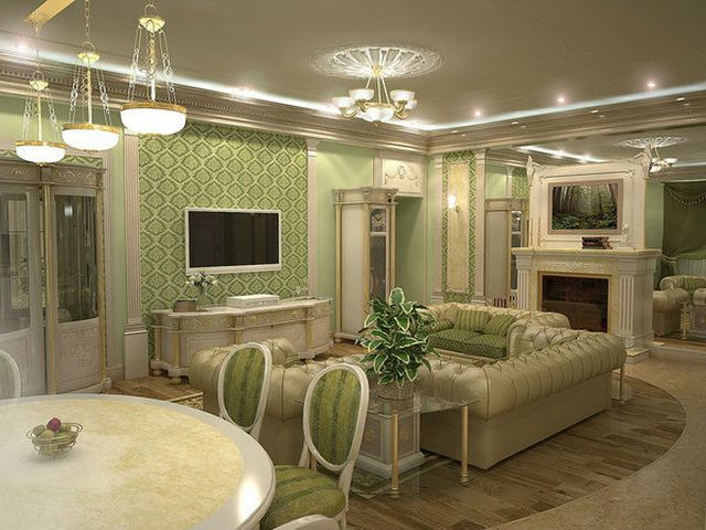 классическая гостиная в оливковом цвете