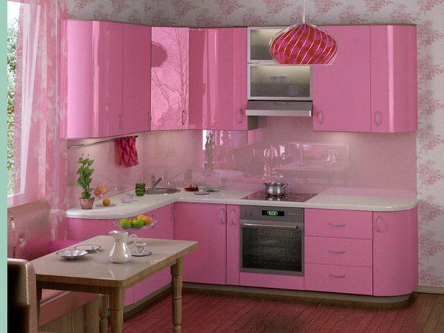 кухня в светло-розовых тонах