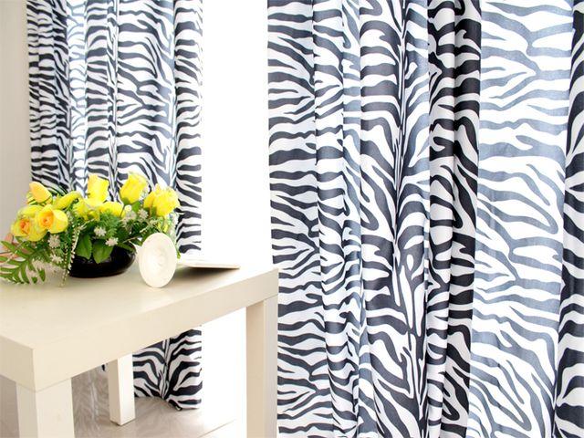 черно-белые шторы в стиле сафари