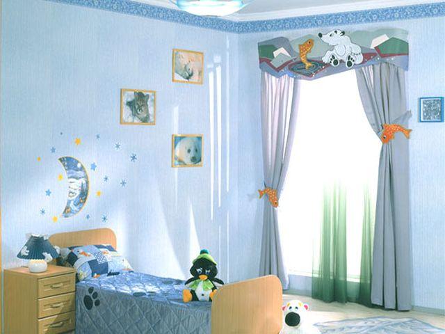 Комната для мальчика в темно-голубом цвете