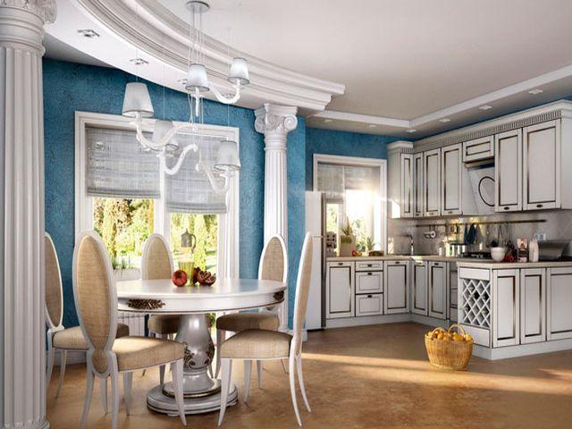 Кухня в греческом стиле с преобладанием голубого