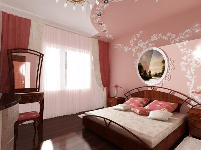 коричнево-розовая спальня