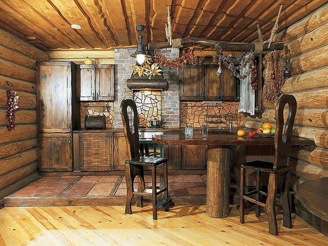 рустикальная кухня со старинной мебелью
