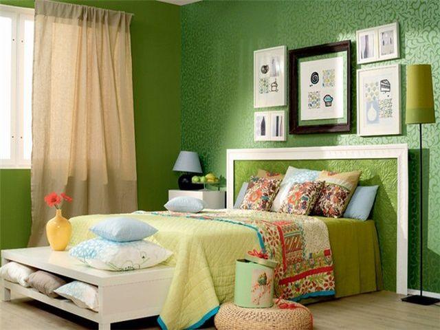 Салатовая спальня в стиле лофт