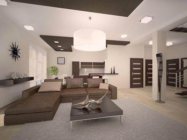 Осветительные приборы минималистической гостиной, подобранные в одной форме