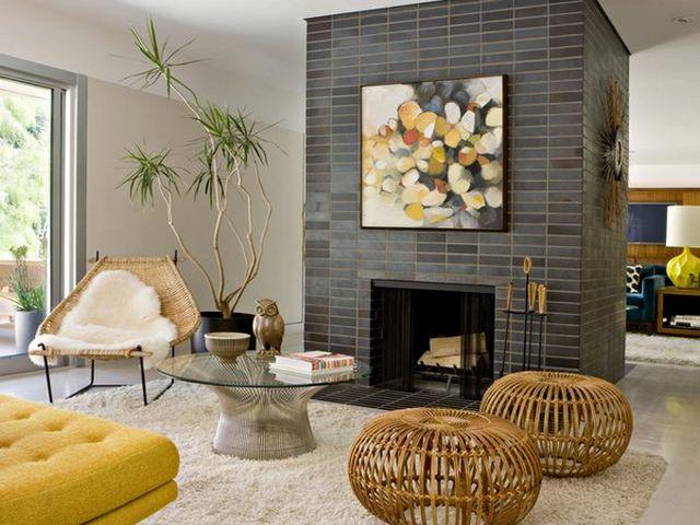 Плетеная мебель в гостиной прованс