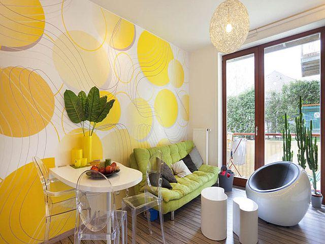 гостиная в зелено-желтых тонах