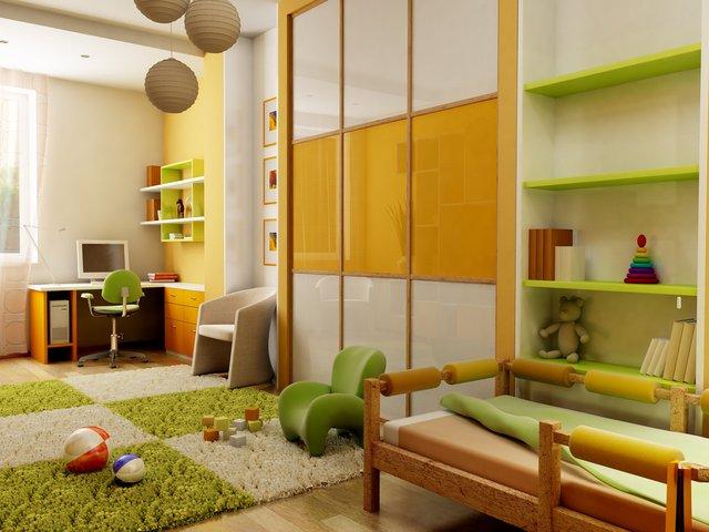 игровая зона детской в зеленых и оранжевых цветах