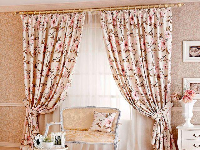цветочные шторы в кантри стиле