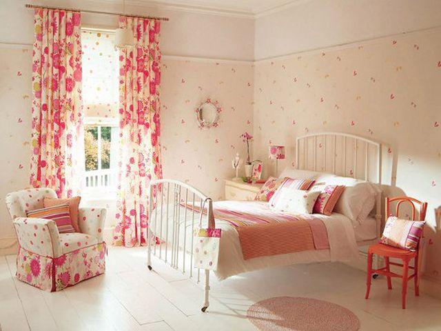 цветочные шторы в спальне