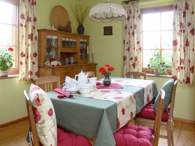 цветочные шторы на кухне