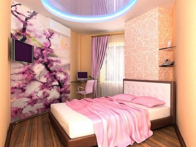 маленькая спальня в розовых тонах