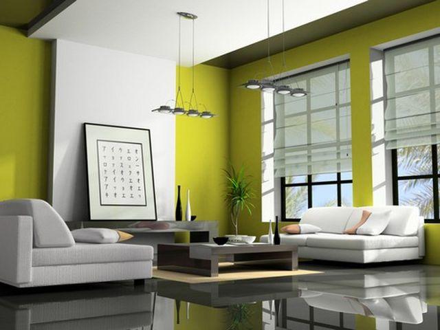 Экосочетания: зеленый, серый и белый цвет в интерьере