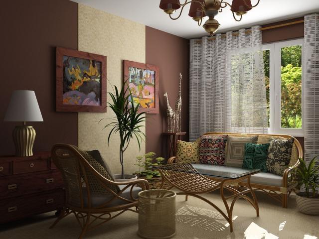 пальма в кадке в коричневом интерьере