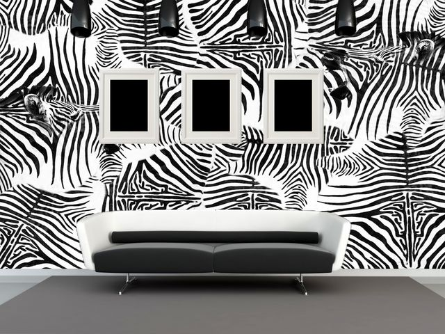 имитация шкуры зебры в минималистичном интерьере