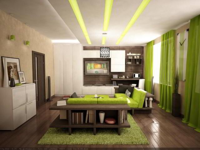коричневый и зеленый в интерьере квартиры
